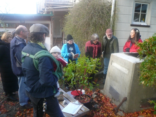 Laurie Chambers demonstrates his latest Critter-Proof Composter design